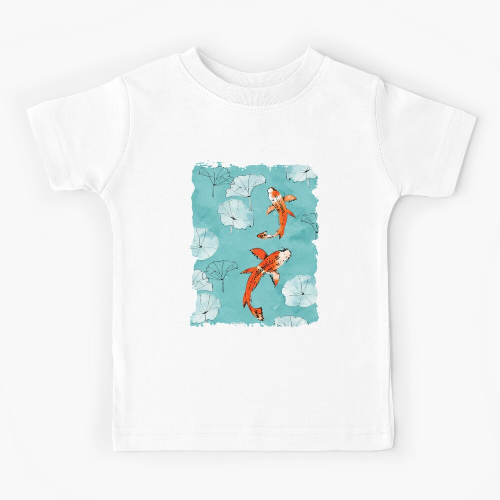 Waterlily koi in turquoise Kids T-Shirt