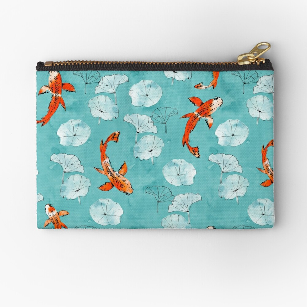 Waterlily koi in turquoise Zipper Pouch