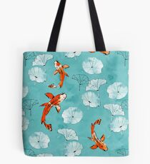 Waterlily Koi in Türkis Tote Bag