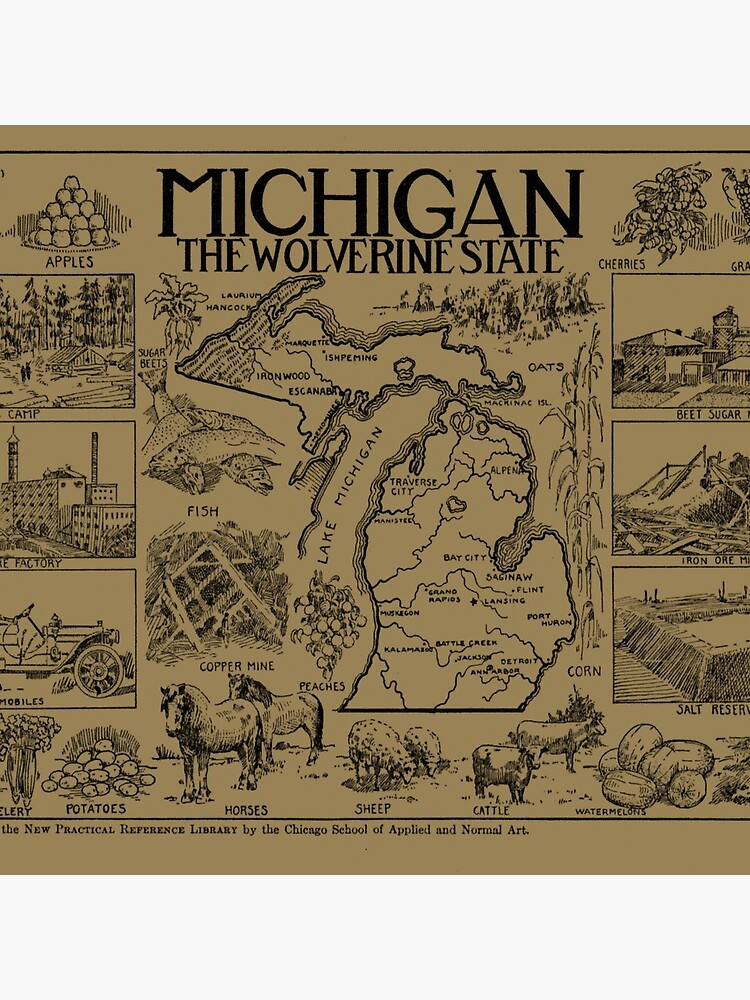Vintage Map of Michigan (1912) - Tan by BravuraMedia