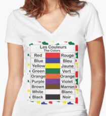 Les Couleurs Women's Fitted V-Neck T-Shirt