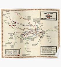 Vintage Map of The London Underground (1923) Poster