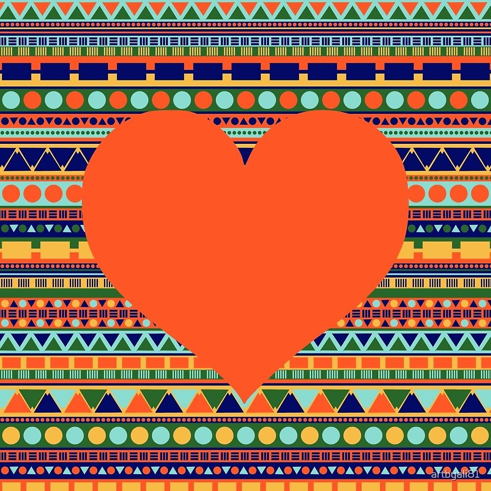 TRIBAL HEART - Orange by artbyali81
