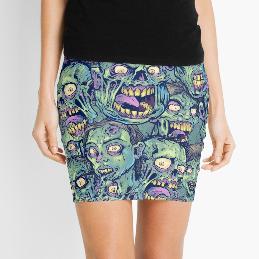 Zombie Repeatable Pattern Mini Skirt