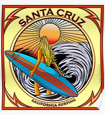 SANTA CRUZ CALIFORNIA SURFING Poster