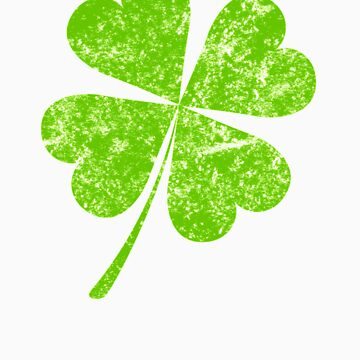 Lucky St Patricks 4 Leaf Clover Irish Paddys Day Distressed Shamrock by doggopupper