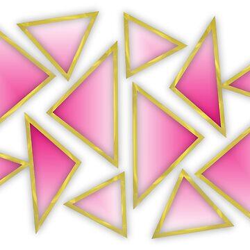 Modern Geometric Pink Gold Angular Pattern by Artification