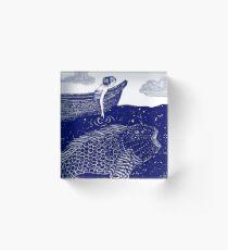 Die blau schimmernden Seelichter Acrylblock