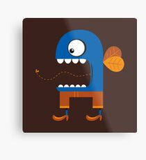 Blue Fly Snack Metal Print