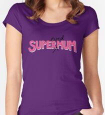Super(tired)Mum in Pink and White Women's Fitted Scoop T-Shirt
