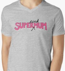 Super(tired)Mum in Pink and White Mens V-Neck T-Shirt