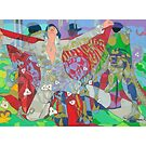 Elvis and the Three Bones giclee with borders by Denise Weaver Ross