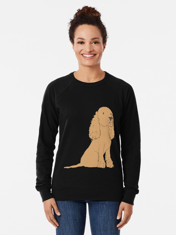 Alternate view of  Golden Spaniel - Watercolor Style Spaniel Lightweight Sweatshirt