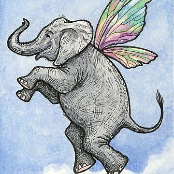 Happy Fairy Elephant in Flight by geneploss