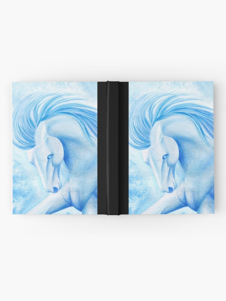 Alternate view of March Aquamarine Horse Watercolor Painting Hardcover Journal