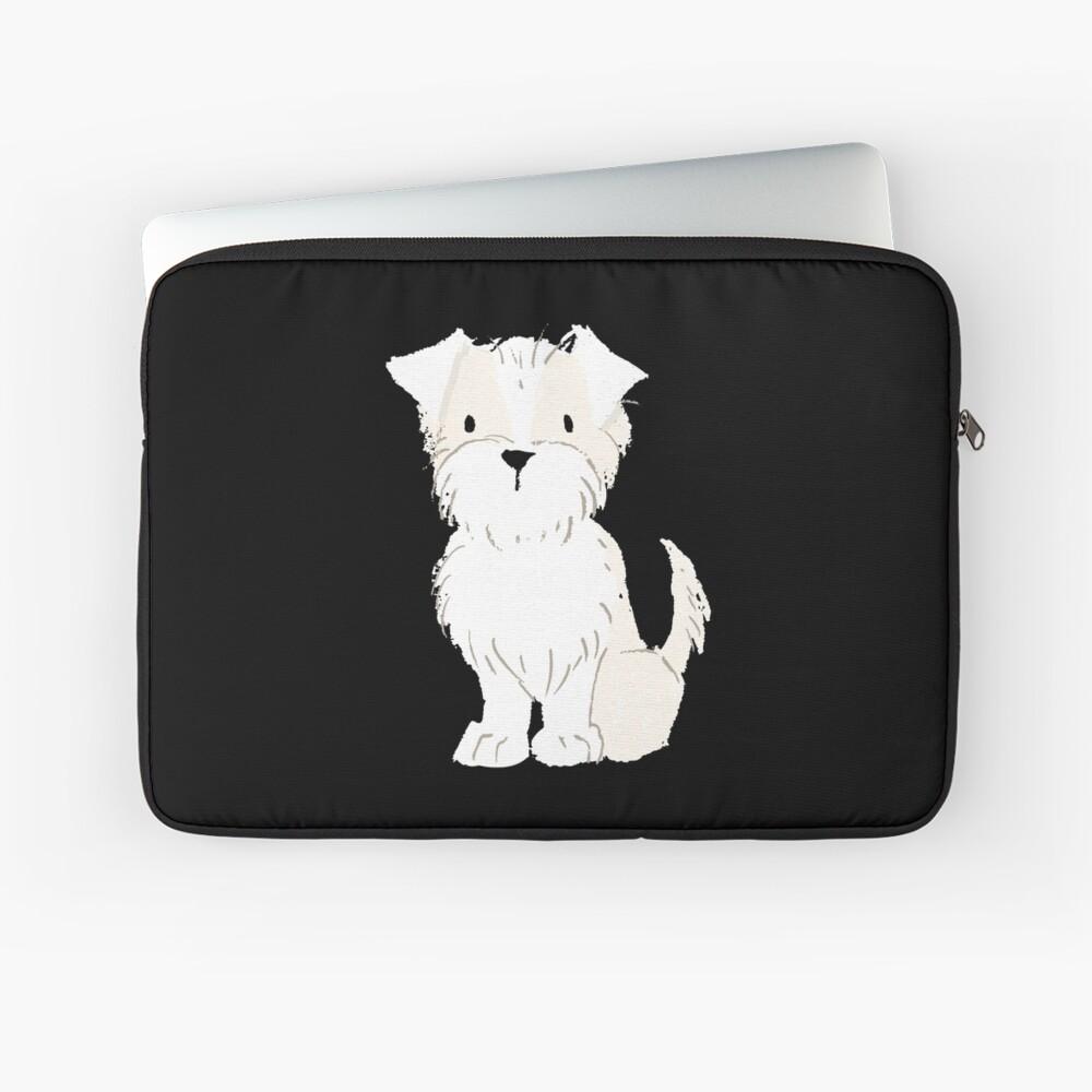 Terrier Cream White - Watercolor Style Terrier Laptop Sleeve