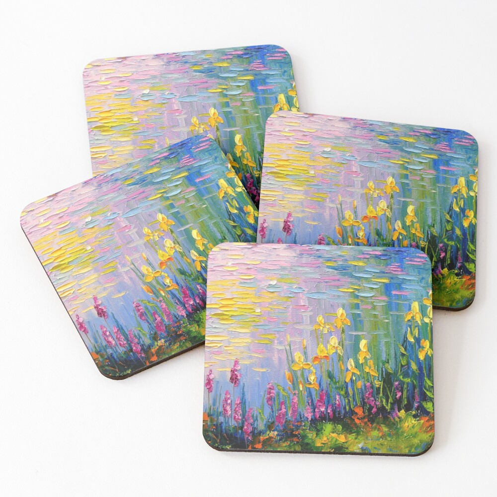 Flowers by the pond Coasters (Set of 4)