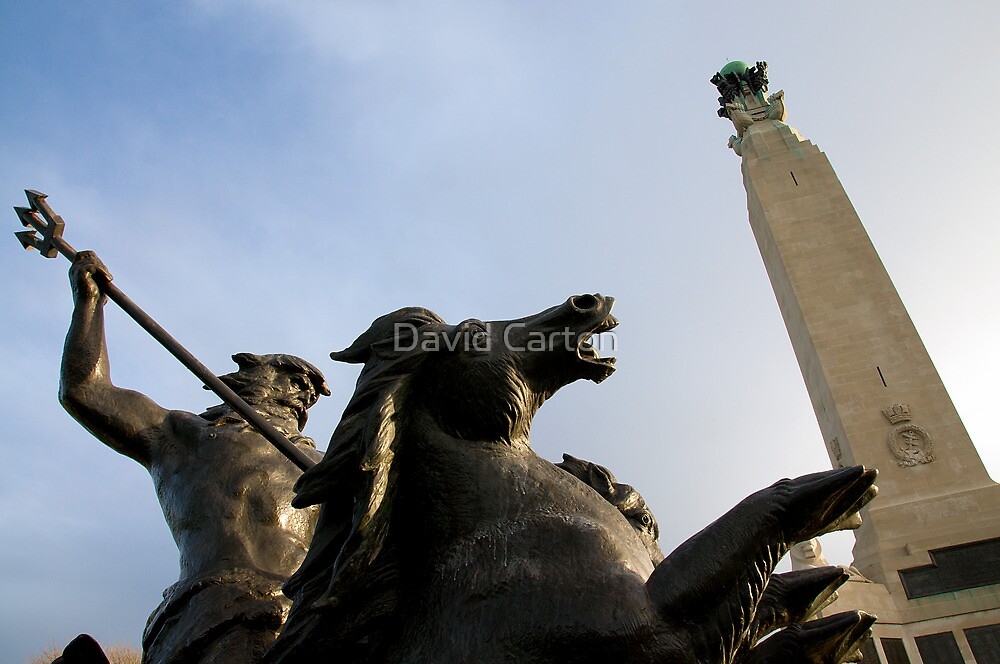 Neptune at Plymouth Naval Memorial, Devon, Uk by David Carton