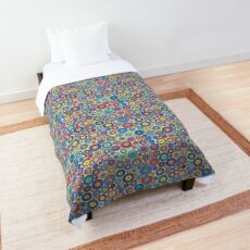 Multicolored Concentric circles - white background Comforter