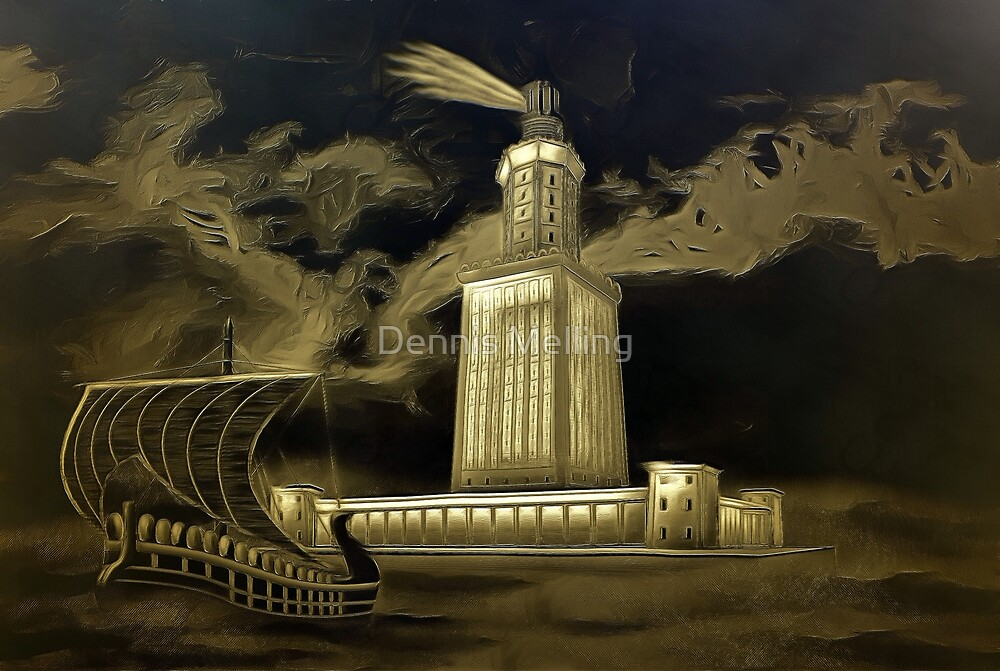 A digital painting, in old print style, of Pharos Lighthouse