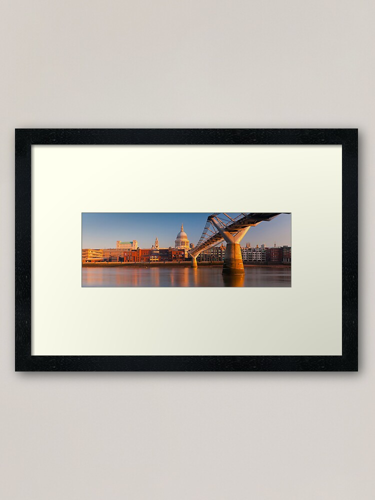 Alternate view of UK, London, St. Paul's Cathedral and Millennium Bridge over River Thames   Alan Copson © 2010 (20046-04) Framed Art Print