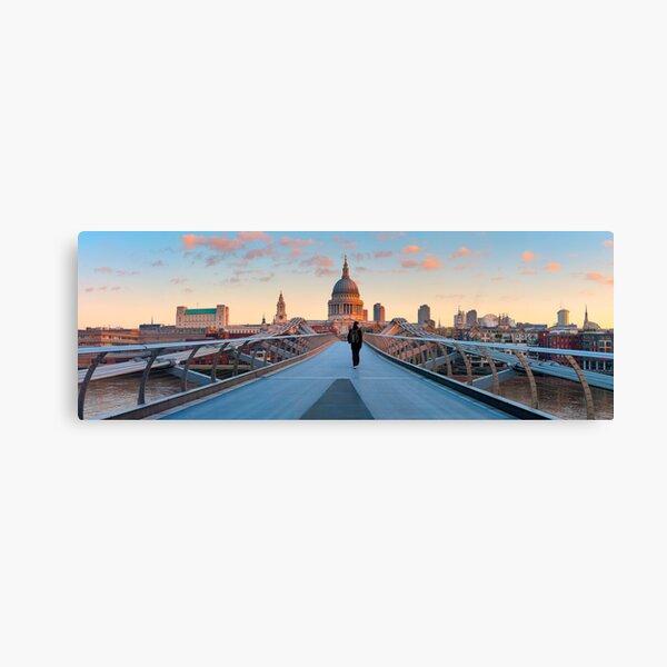 UK, London, St. Paul's Cathedral and Millennium Bridge over River Thames   Alan Copson © 2010 (20038-04) Canvas Print