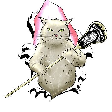 Lacrosse Funny Cute Cat Tshirt Lacrosse Stick by noirty