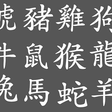 Chinese Zodiac (White) by TheArtArmature