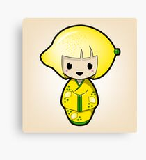 Lemon Kokeshi Doll Canvas Print
