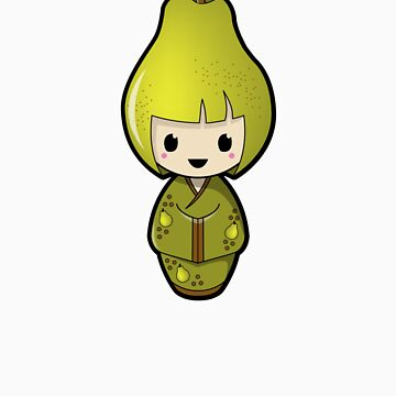Pear Kokeshi Doll by BubbleDoll
