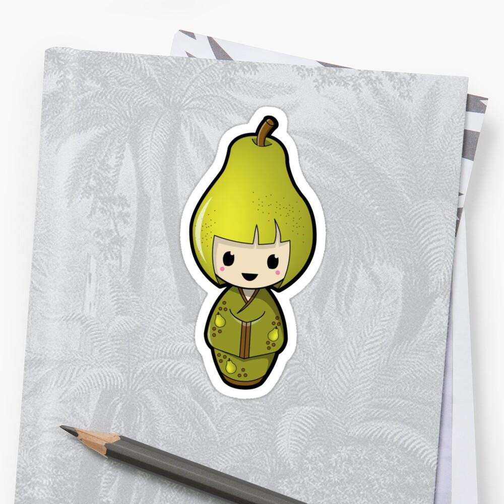 Pear Kokeshi Doll by Bubble Doll