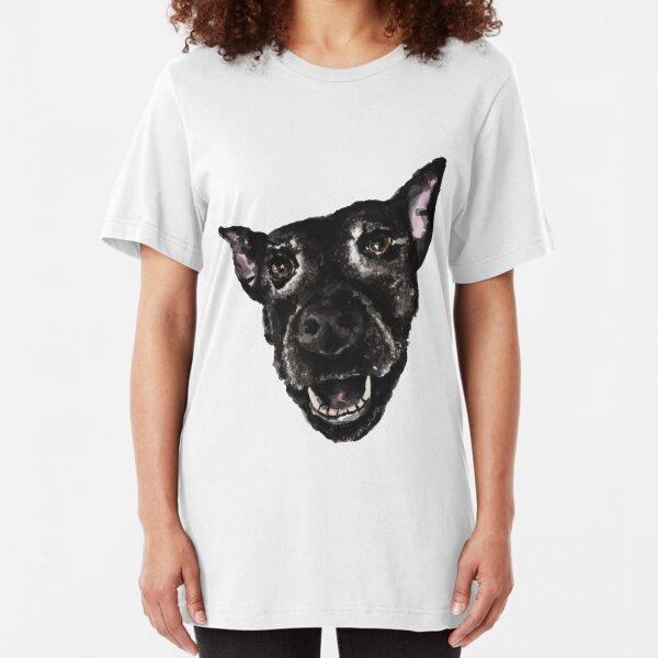 Sascha the Happy Dog Portrait in Ink Slim Fit T-Shirt