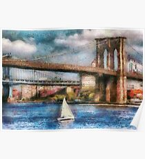 Boat - Sailing under the Brooklyn Bridge Poster