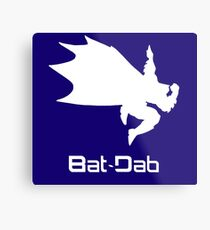 White Bat-Dab (with Text) Metal Print