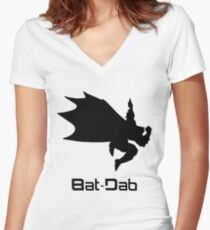 Black Bat-Dab (with Text) Women's Fitted V-Neck T-Shirt