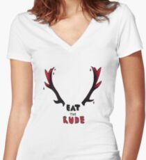 Hannibal - Eat The Rude Bloody Antlers Women's Fitted V-Neck T-Shirt