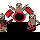 Sloth Music Band Guitar Bass Drums by ValeriesGallery