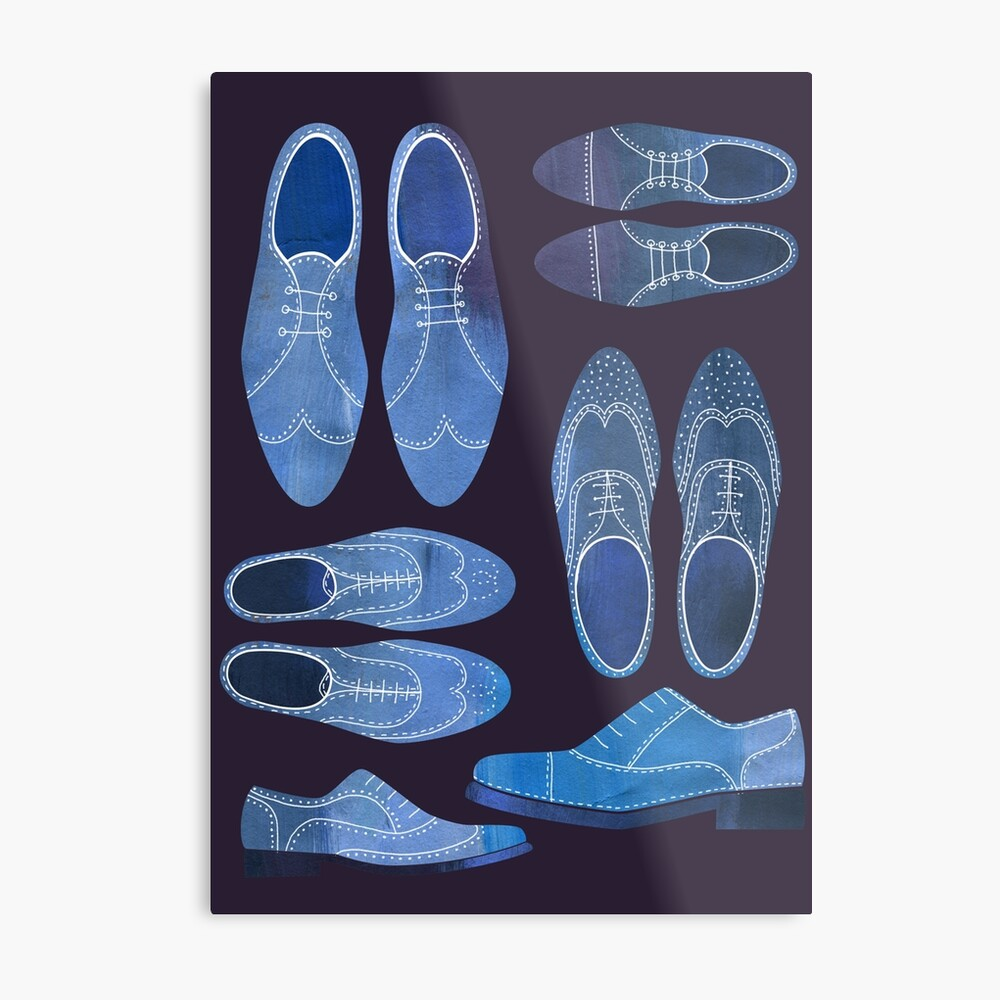 Blue Brogue Shoes for Hipsters and Gentlemen Metal Print