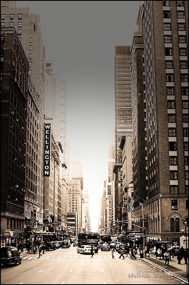 Manhattan Streetscape by Melinda  Ison - Poor