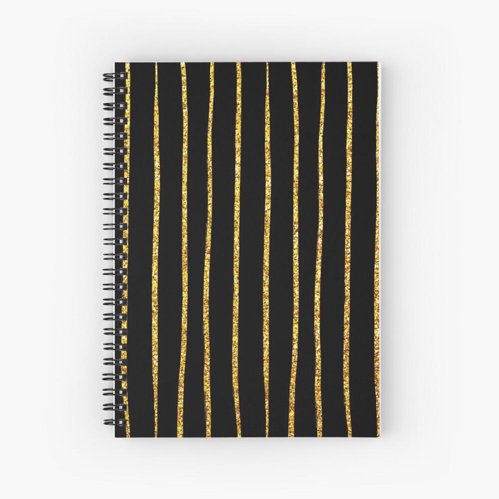 Art Deco Gold-Glitter Vertikale Linien auf schwarzem Samt Spiralblock