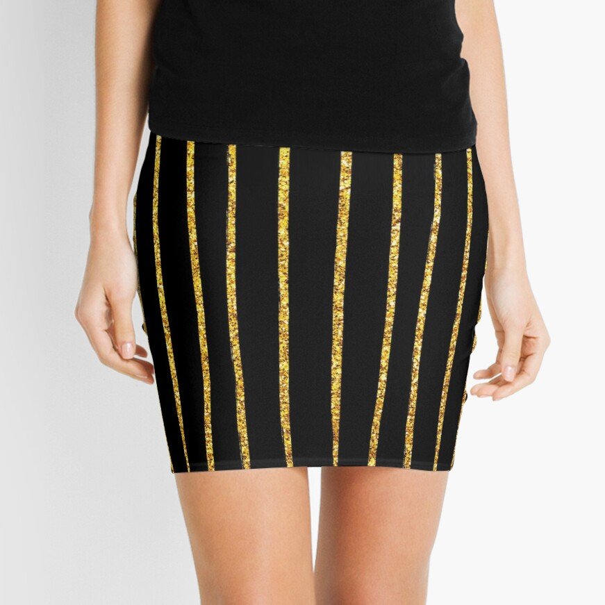 Art Deco Gold-Glitter Vertikale Linien auf schwarzem Samt Minirock