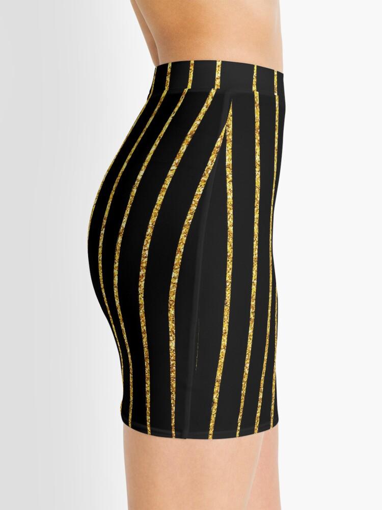 Alternative Ansicht von Art Deco Gold-Glitter Vertikale Linien auf schwarzem Samt Minirock