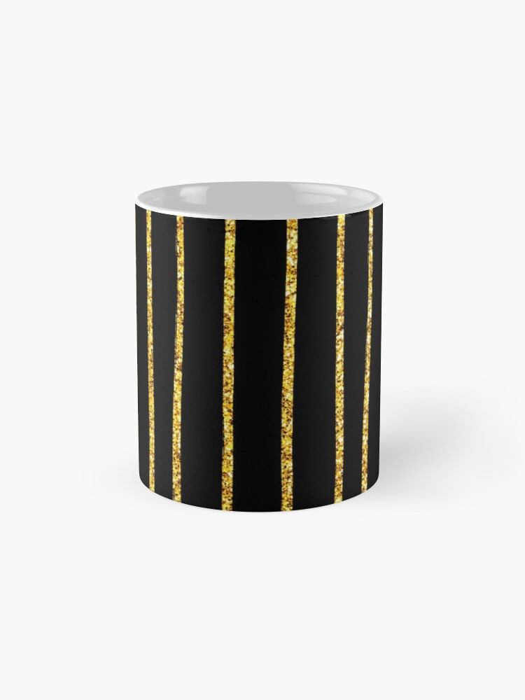 Alternative Ansicht von Art Deco Gold-Glitter Vertikale Linien auf schwarzem Samt Tasse