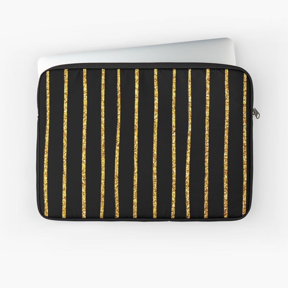 Art Deco Gold-Glitter Vertikale Linien auf schwarzem Samt Laptoptasche