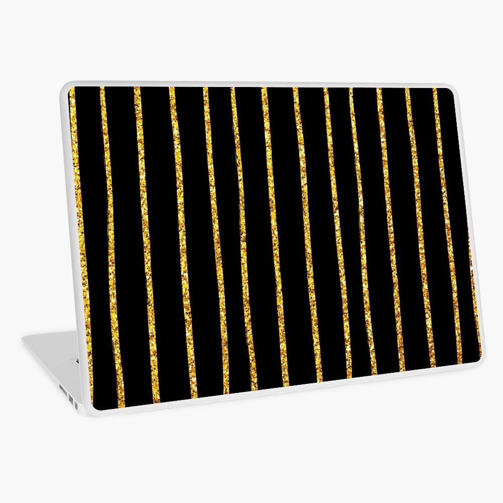 Art Deco Gold-Glitter Vertikale Linien auf schwarzem Samt Laptop Folie