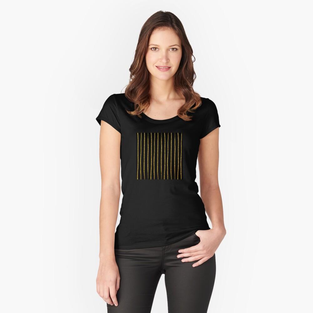 Art Deco Gold-Glitter Vertikale Linien auf schwarzem Samt Tailliertes Rundhals-Shirt