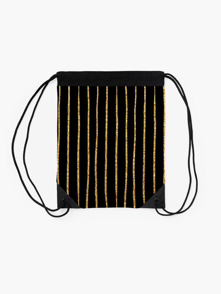Alternative Ansicht von Art Deco Gold-Glitter Vertikale Linien auf schwarzem Samt Turnbeutel