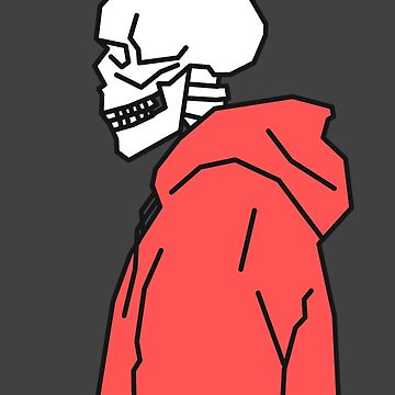 Skelett, das roten Hoodie trägt von Rocket-To-Pluto