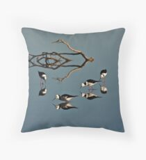 Four Black Winged Stilts Reflected Throw Pillow