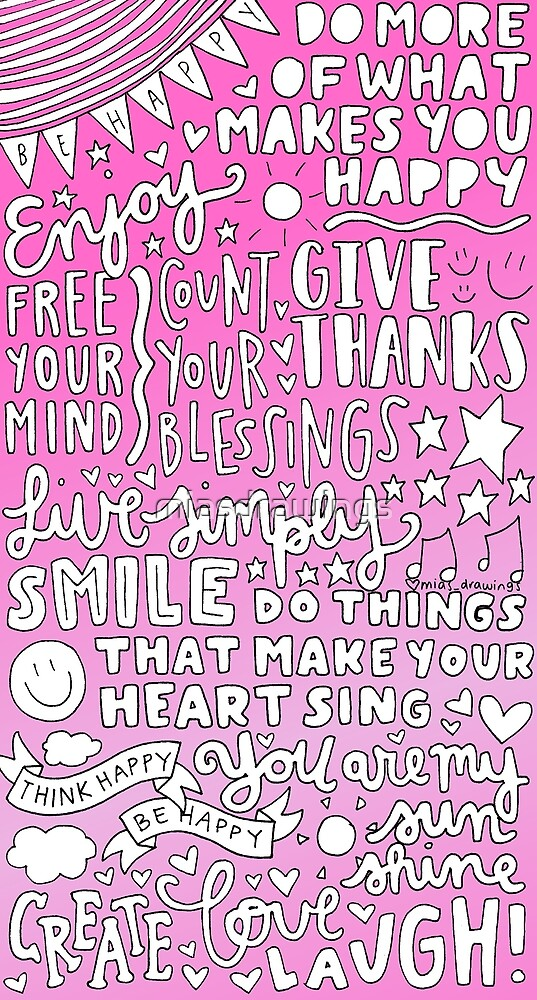 Happy quotes collage (pink) by miasdrawings